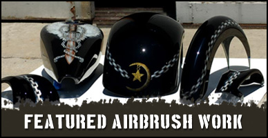 Featured airbrush artwork for motorcycles, helmets, guitars, airplanes, RC hobby and more.